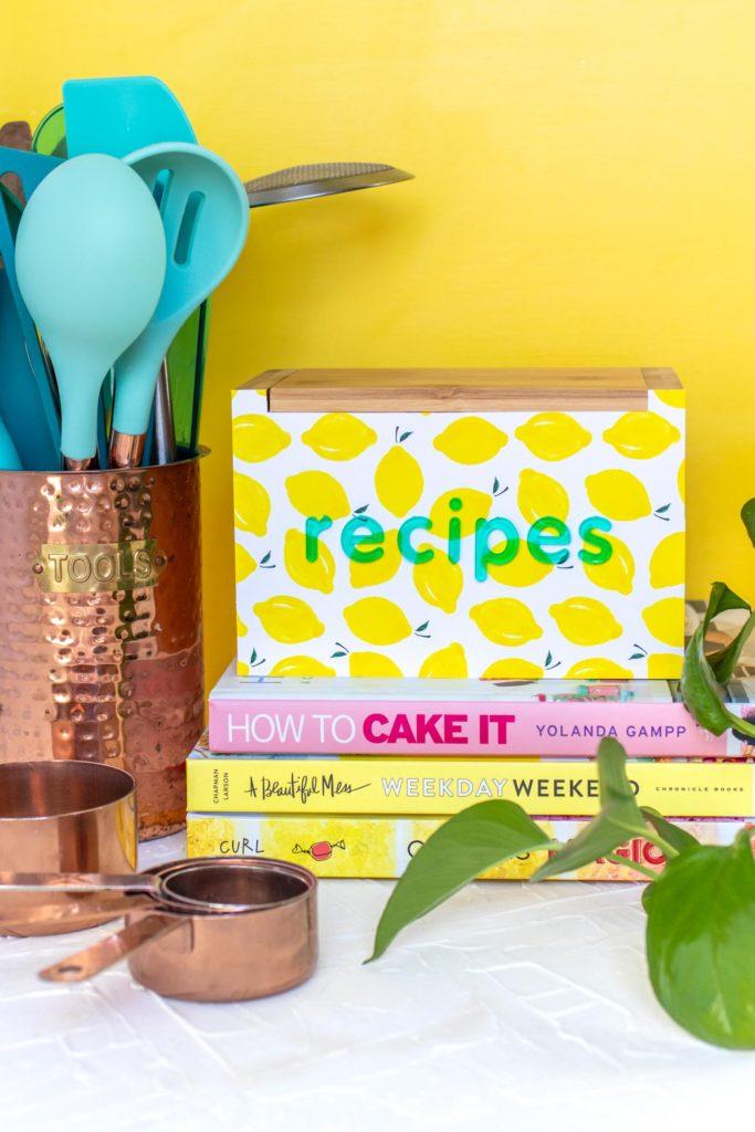 DIY bright recipe box makeover usign removable wallpaper (via www.clubcrafted.com)