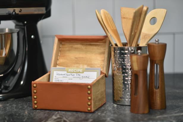 DIY leather wrapped recipe box (via www.hgtv.com)