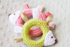 DIY crochet hedgehog teething and tag toy