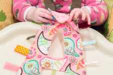 DIY crinkly monogram tag toy