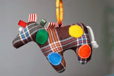 DIY baby horse toy with tags