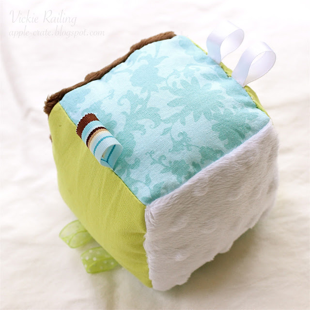 DIY soft block toy wiht ribbons