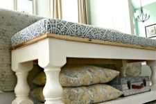 DIY vintage white bench with printed upholstery