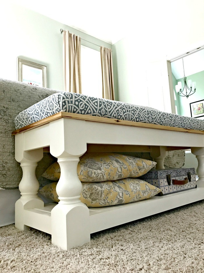DIY vintage white bench with printed upholstery (via abbottsathome.com)