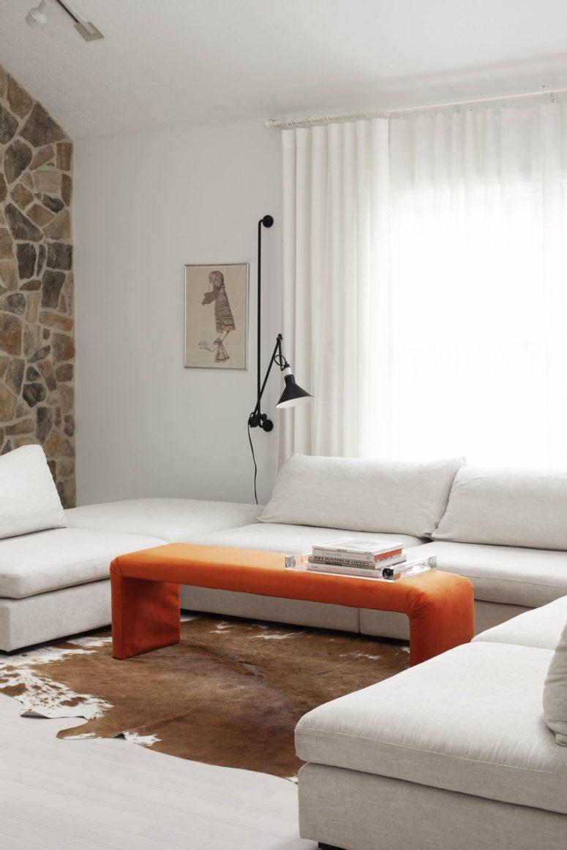 DIY bright upholstered waterfall bench (via abeautifulmess.com)
