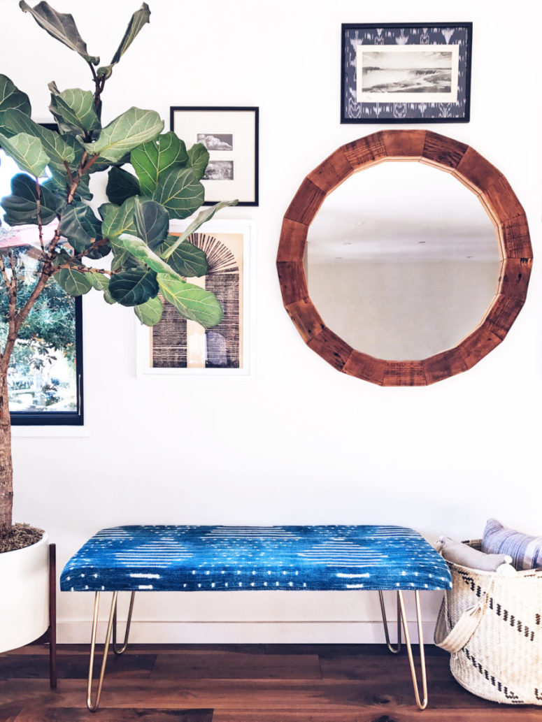 DIY blue upholstered bench with hairpin legs (via blog.etsy.com)