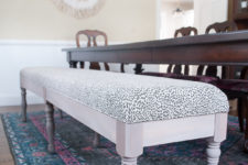 DIY vintage bench with modern upholstery