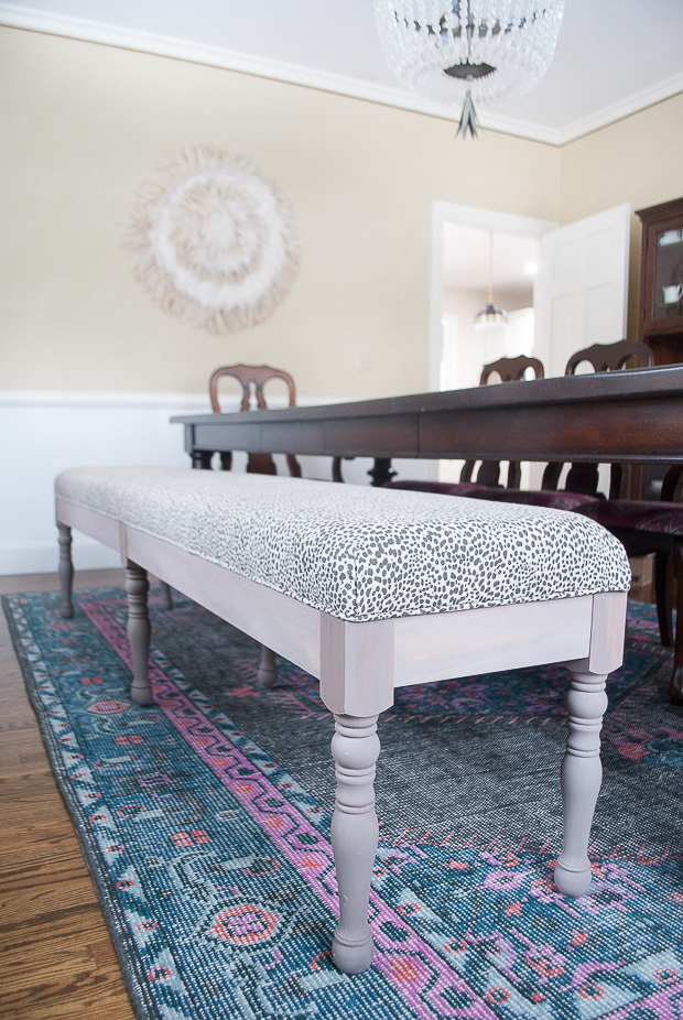 DIY vintage bench with modern upholstery (via www.thechroniclesofhome.com)