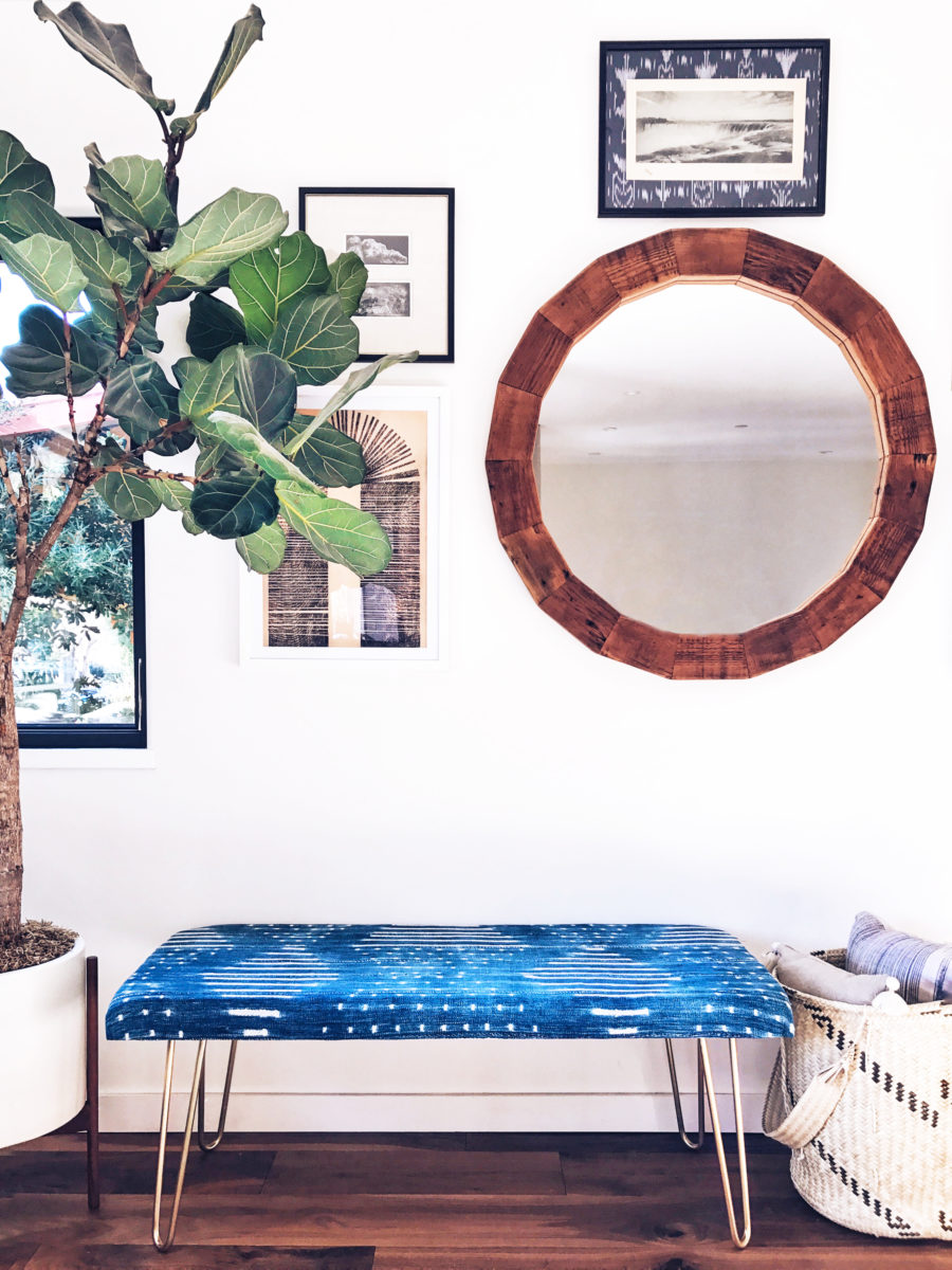 DIY blue upholstered bench with hairpin legs
