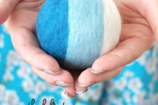 DIY bright felted rattle ball