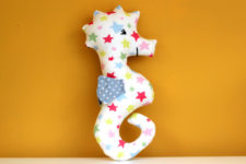 DIY colorful star print seahorse baby rattle