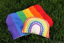 DIY bright rainbow baby rattle