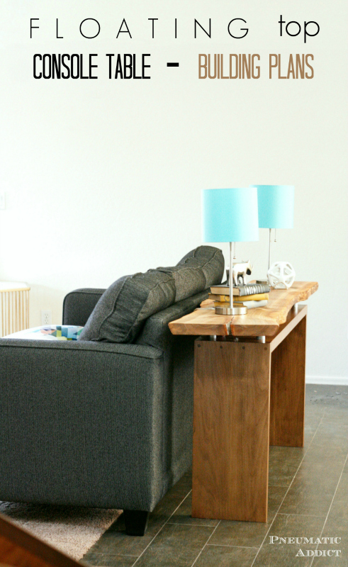 DIY floating console table with a live edge (via www.pneumaticaddict.com)