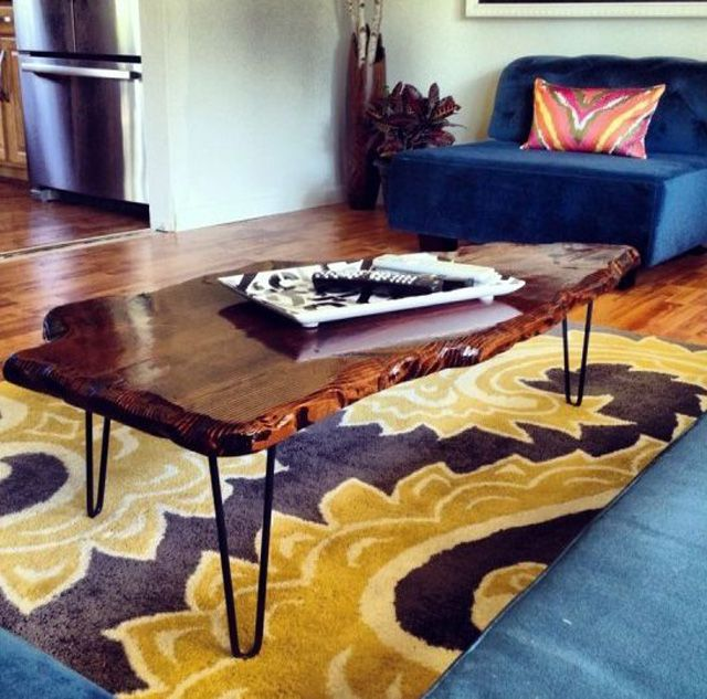 DIY wood coffee table with a live edge (via www.thespruce.com)