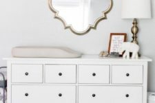 04 IKEA Hemnes dresser changing table with small black knobs looks super cute and chic