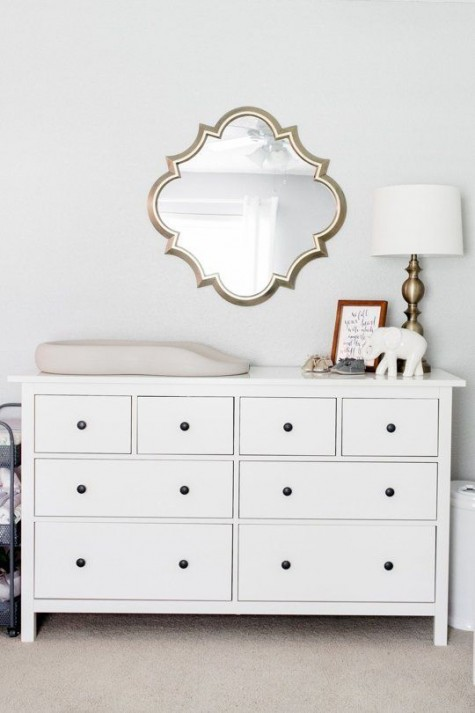 IKEA Hemnes dresser changing table with small black knobs looks super cute and chic
