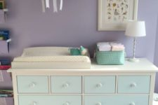 05 an IKEA Hemnes dresser painted aqua to fit the color scheme of the nursery