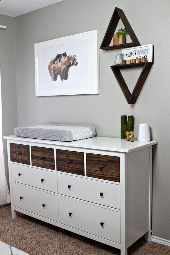 an IKEA Hemnes dresser done with dark stained wooden drawers for a rustic or woodland touch