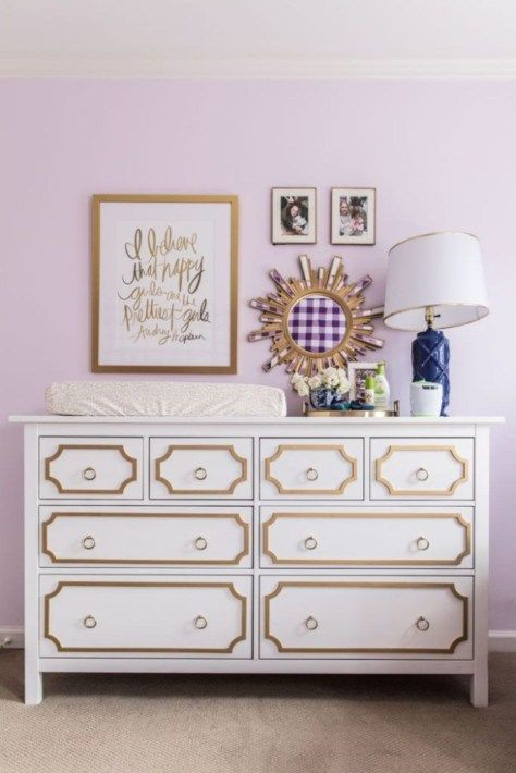 an IKEA Hemnes dresser spruced up with stylish gold trimming and matching ring pulls for a chic touch