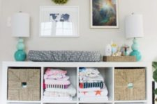 12 IKEA Kallax bookshelf with basket drawers and boxes will become a stylish changing table