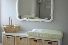 15 an IKEA Kallax shelf with woven baskets as drawers is a chic rustic changing table with a cozy feel