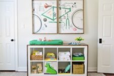 16 an IKEA Kallax shelf wrapped with stained wood and turned into a stylish changing table