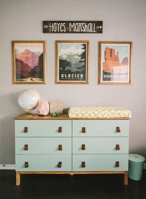 an IKEA Tarva dresser hack with a light-colored wooden countertop and legs and leather pulls