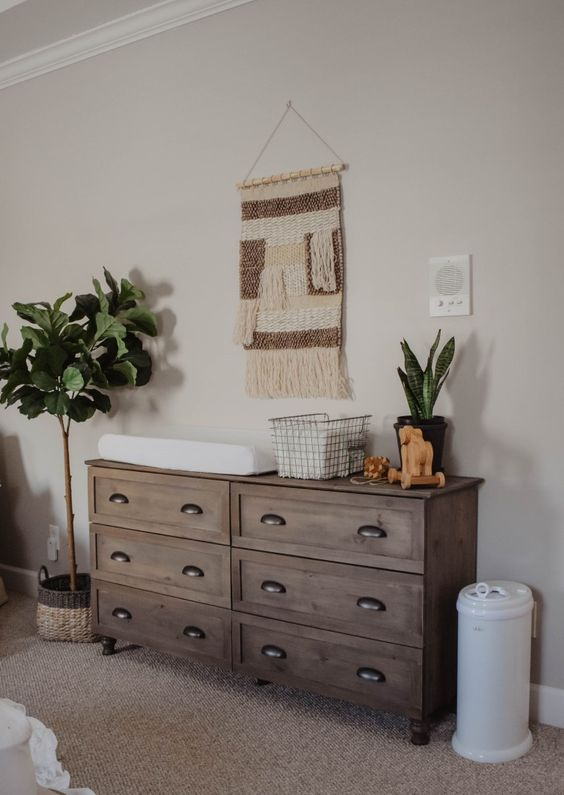 a vintage rustic hack of an IKEA Tarva dresser will perfectly match a boho or rustic nursery