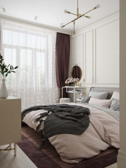 a gorgeous cozy bedroom with creamy paneling on the walls to add a refined touch and avoid a boring wall look