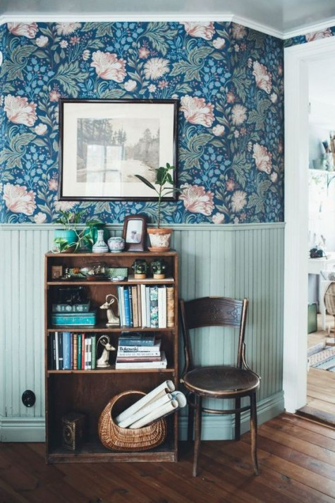 bold floral print wallpaper and aqua wainscoting for a bright and vivacious look with a vintage feel