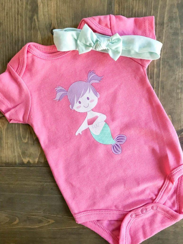 DIY pink oneside with a mermaid design (via everydaypartymag.com)