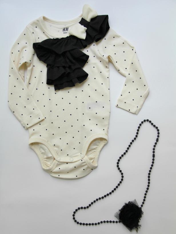 DIY black and white polka dot onesie with ruffles