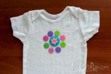 DIY colorful button flower onesie