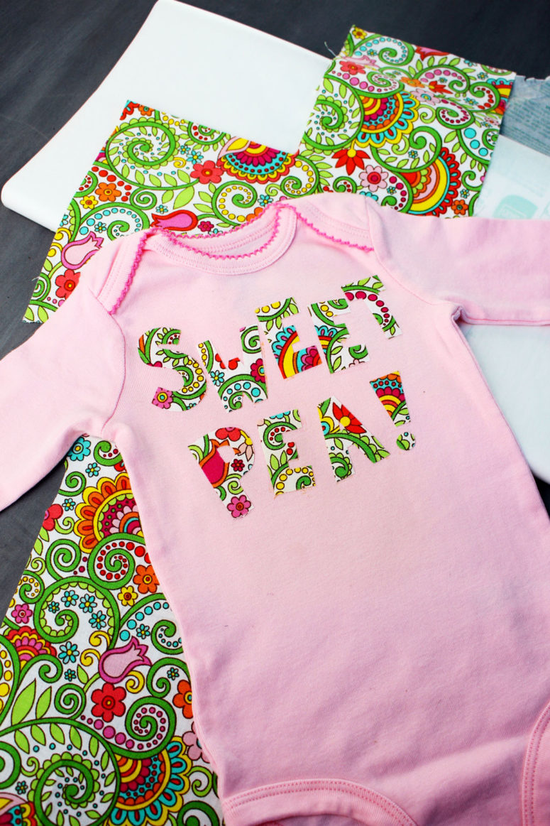 DIY pink onesie with colorful letter appliques (via welcometonanas.com)