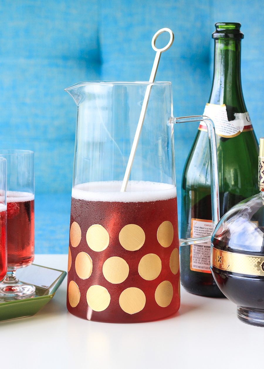DIY pitcher with removable gold polka dots