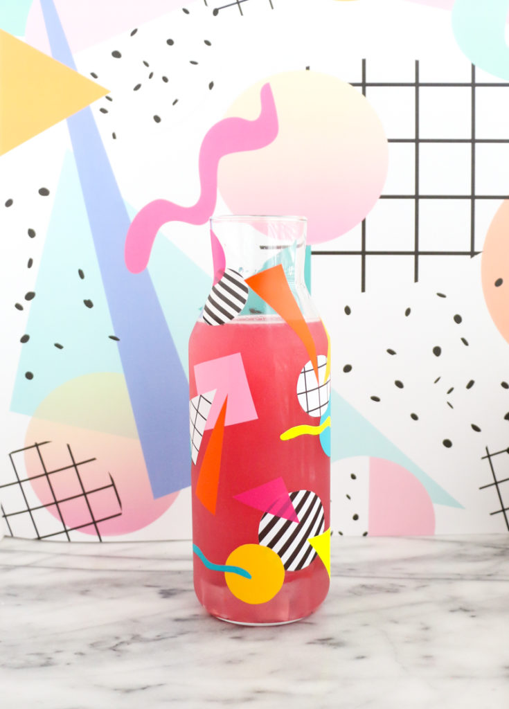 DIY bright 80s inspired pitcher design with vinyl (via akailochiclife.com)