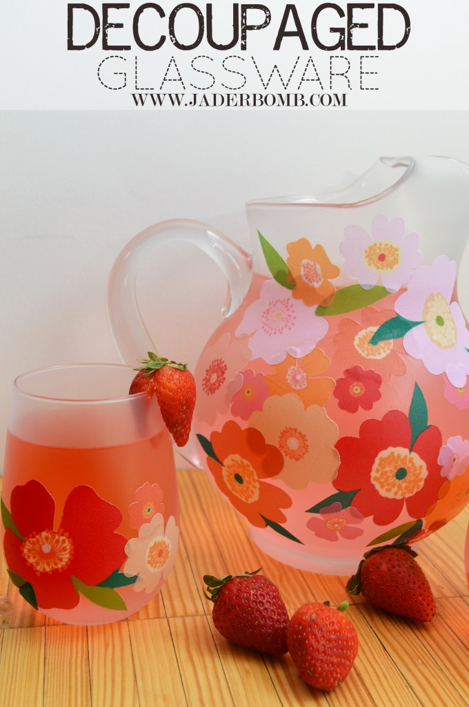 DIY bright floral decoupage on glasses and a pitcher (via jaderbomb.com)