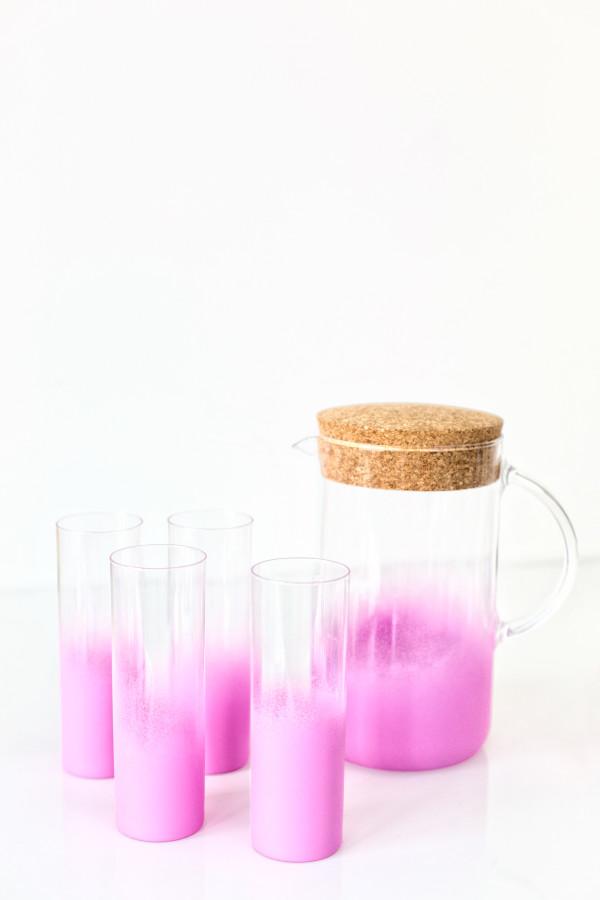 DIY neon pink ombre glassware (via studiodiy.com)