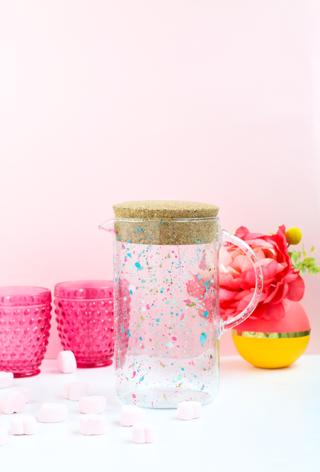 DIY splatter painted drink pitcher