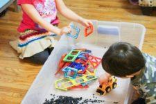 DIY construction sensory bin