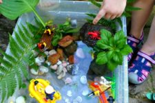 DIY ocean adventure sensory bin with LEGOs