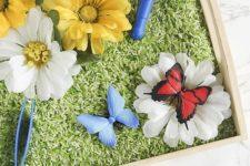DIY butterfly and flower sensory bin