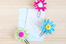 DIY colorful daisy paper clips