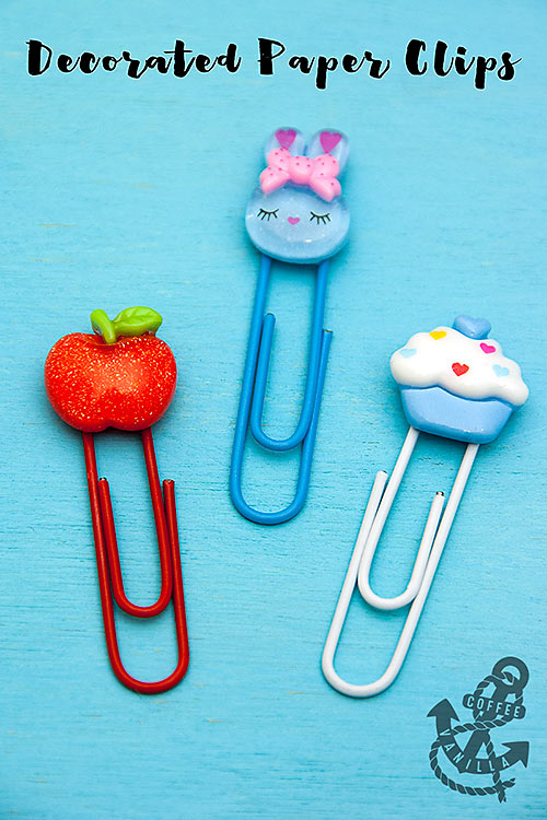 DIY paper clips with colorful toppers (via www.coffeeandvanilla.com)