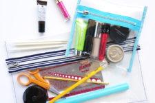 DIY clear vinyl zip pouch