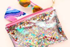 DIY water resistant vinyl pouch with bright decor
