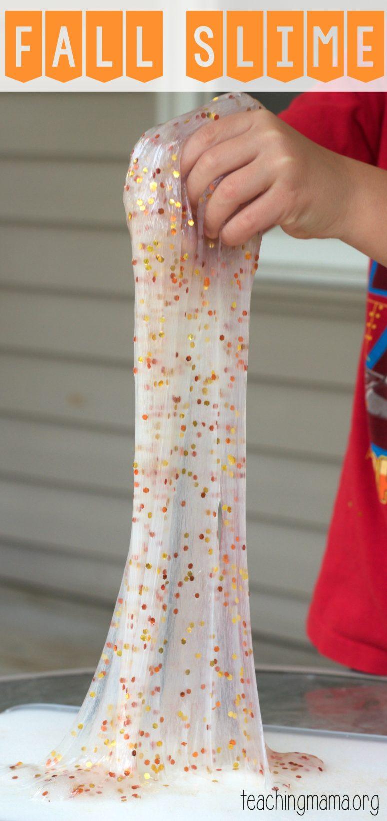 DIY fall slime with fall-colored confetti (via teachingmama.org)