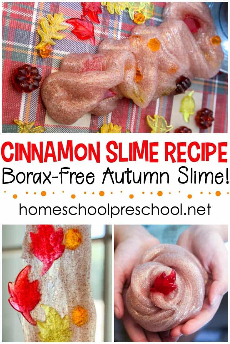 DIY cinnamon slime with fall leaves (via homeschoolpreschool.net)