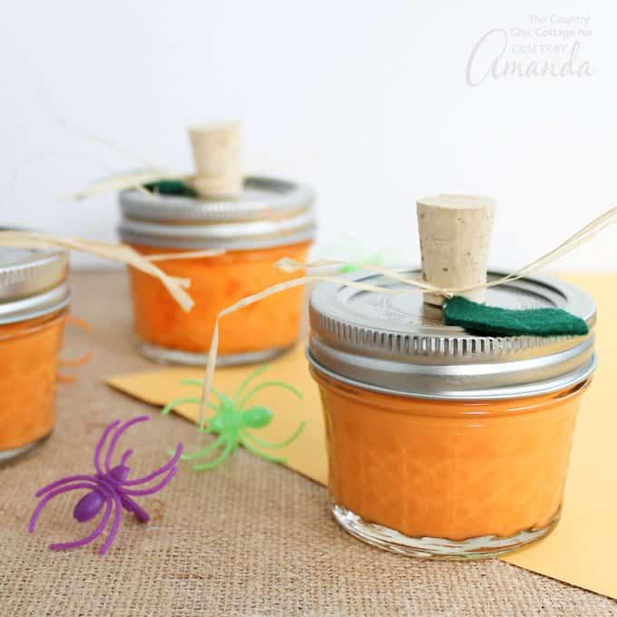 DIY bright orange slime packed as pumpkins (via craftsbyamanda.com)
