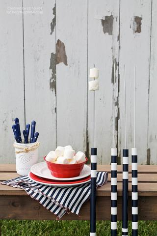 DIY striped black and white roasting sticks (via www.barbeqa.com)